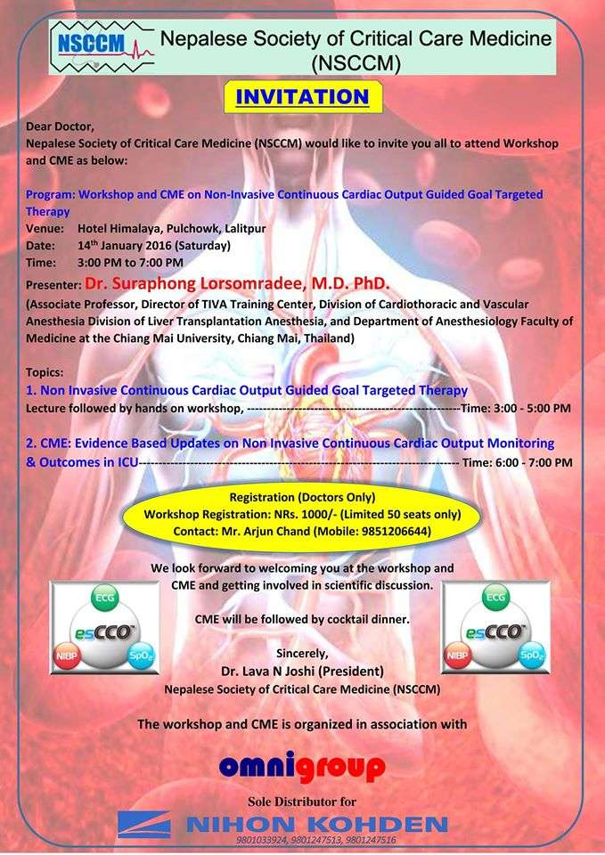Workshop on Non-Invasive Continuous Cardiac Output Guided Therpy