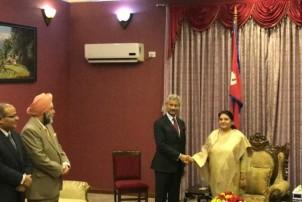 राष्ट्रपति भण्डारी र भारतीय विदेशमन्त्री जयशंकरबीच भेट